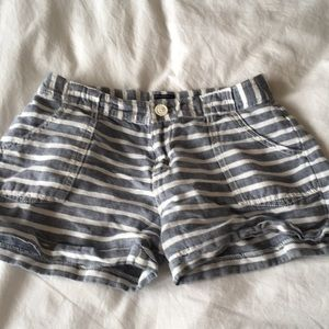 Gray and white striped shorts